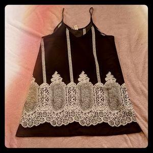 Dresses & Skirts - Black and White Boho Mini Tank Dress